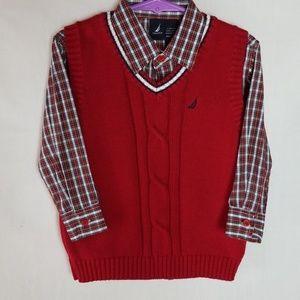 Nautica Dress Shirt and Sweater Vest Set